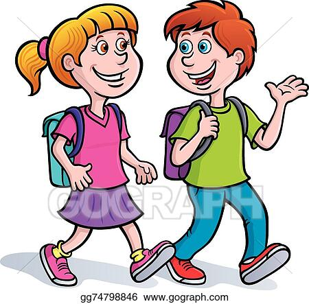 vector illustration boy and girl walking with backpacks stock rh gograph com picture of girl and boy clipart clipart school girl and boy