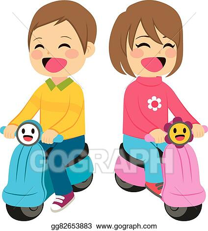 motorcycle baby clipart  Vector Illustration - Boy and girl with motorcycle. EPS Clipart ...