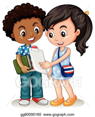 Vector Art Boy And Girl Working Together Clipart Drawing