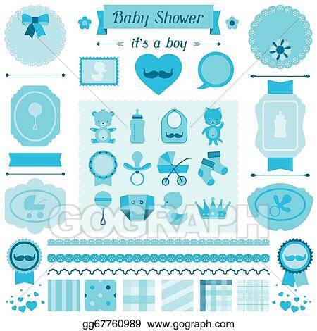 Clip Art Vector Boy Baby Shower Set Of Elements For Design Stock Eps Gg67760989 Gograph