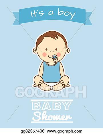 Vector Art   Boy Baby Shower. Clipart Drawing Gg82357406