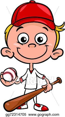 Baseball kid. Vector clipart boy player