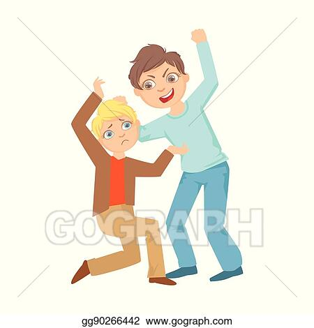 Vector Art - Boy beating up smaller kid teenage bully demonstrating