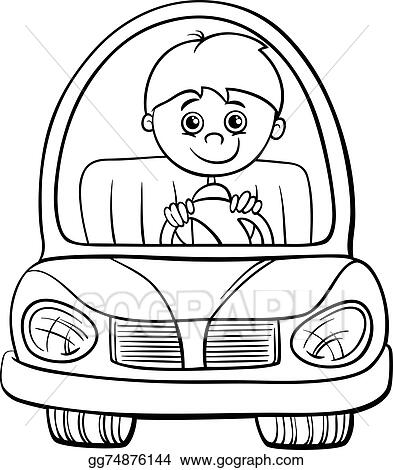 Boy In Car Cartoon Coloring Page