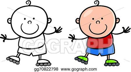 Vector Art Boy On Rollerblades Cartoon Illustration Eps Clipart
