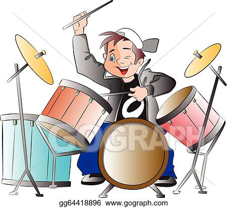 vector illustration boy playing drums illustration eps clipart rh gograph com free clipart of drums drums clip art free