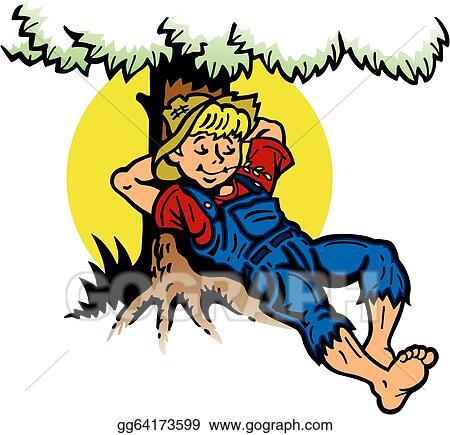 Vector Illustration - Boy resting under a tree. EPS ...