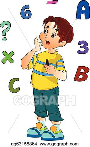 Math boy. Vector stock solving a