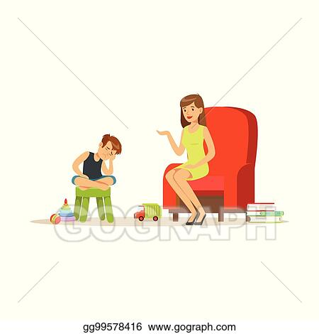 Vector Stock Boy Talking To Child Psychologist About Problems