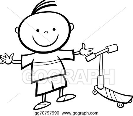Boy With Scooter Cartoon Coloring Page