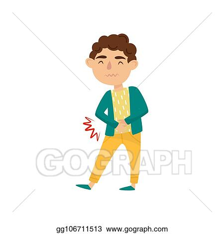 vector stock boy with stomach ache cute little kid suffering from pain child with health problems symptom of disease flat vector design stock clip art gg106711513 gograph https www gograph com clipart license summary gg106711513