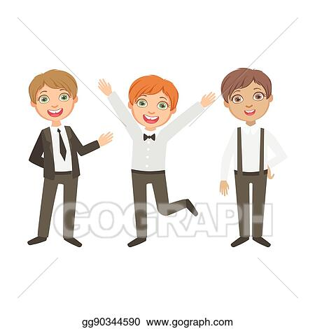 Vector Art Boys In Black And White Outfits Happy Schoolkids In