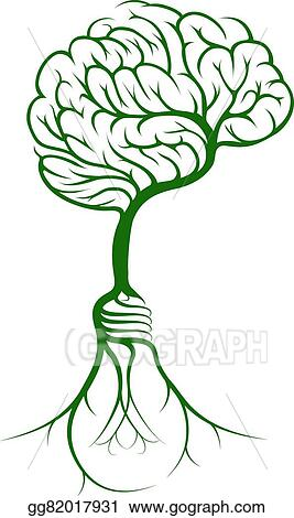 Vector Art Brain Tree Lightbulb Roots Clipart Drawing