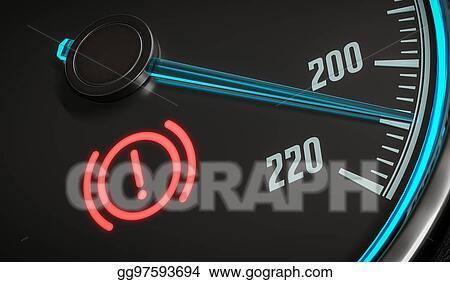 Stock Illustration - Brake system warning light in car
