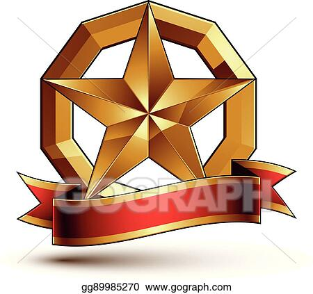 Vector Illustration Branded Golden Symbol With Stylized Pentagonal