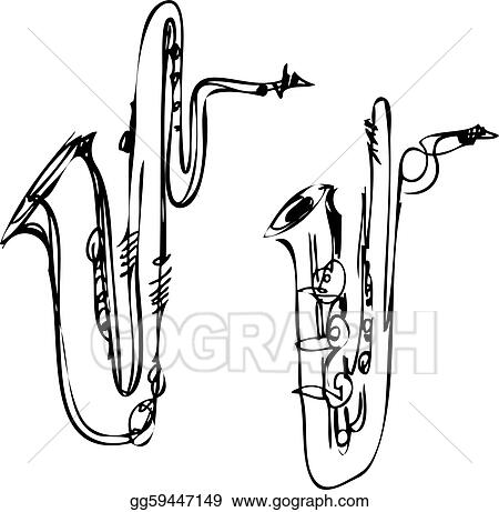vector stock brass musical instrument saxophone bass baritone rh gograph com Trombone Clip Art baritone sax clip art
