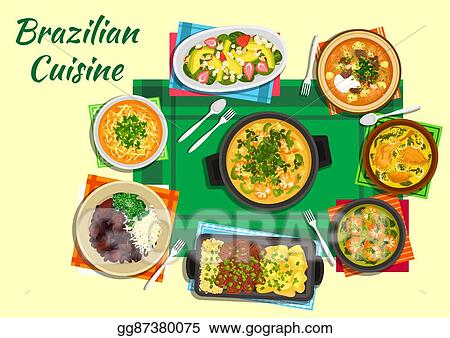 Vector Stock Brazilian Cuisine Dishes With Thick Soups Stews