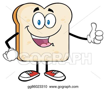 Vector Clipart Bread Slice Giving A Thumb Up Vector Illustration Gg86023310 Gograph