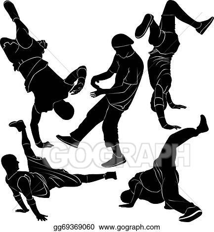 Hip hop dancer break dancing Clipart Image