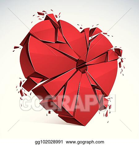 Vector Art Breakup Concept Of Broken Heart 3d Realistic Vector
