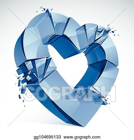 Vector Art Breakup Concept Of Broken Heart 3d Realistic Vector