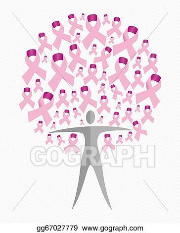 Vector Art Breast Cancer Awareness Ribbon Woman Tree Shape Vector