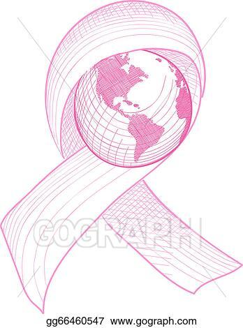 Breast Cancer Awareness Ribbon World Illustration EPS10 File