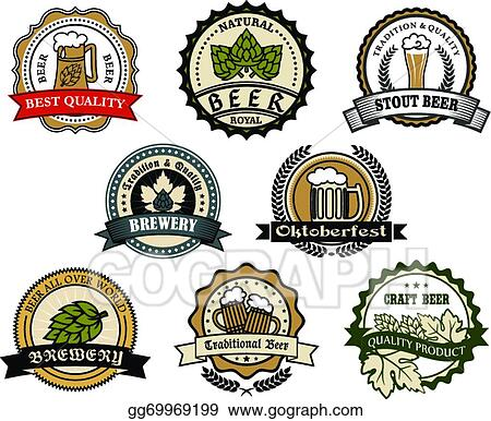 Vector Art - Brewery and beer labels. EPS clipart gg69969199 - GoGraph