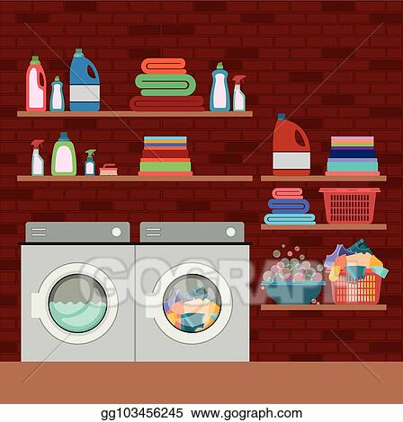 vector clipart brick wall background of clothes with wash machines Lake Waterfront Home brick wall background of clothes with wash machines and elements of home laundry