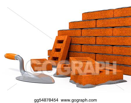 House Construction Clip Art : Stock illustration brick wall construction of new house clip