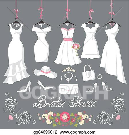 Vector Illustration Bridal Dresses Hang On Ribbons Fashion