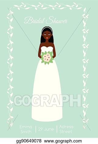 Vector Stock - Bridal shower card with smiling happy bride. african ...
