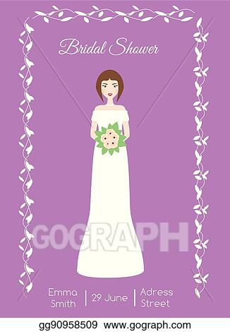 bridal shower card with smiling happy bride woman in fashion wedding dress vector illustration invitation template