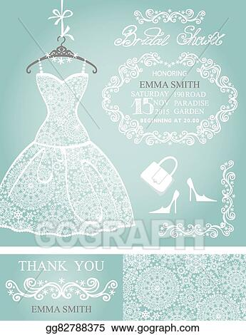 bridal shower invitation setwinter weddinglace dress