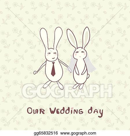 Vector illustration bridal shower invitation with two cute rabbits bridal shower invitation with two cute rabbits in bride and groom costumes filmwisefo