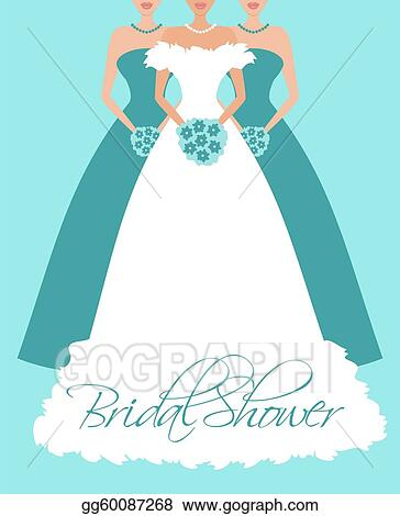 bridal shower invitation bride and bridesmaids in blue