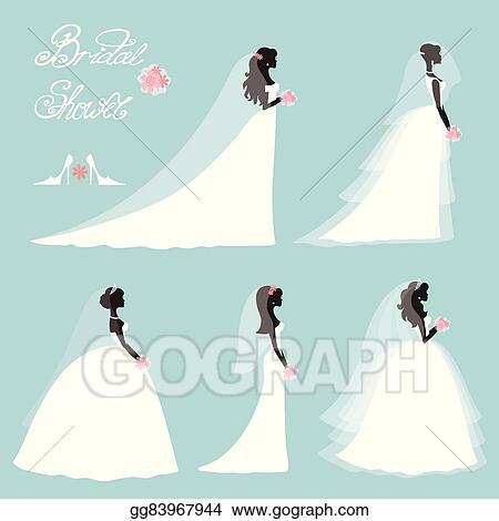 Vector Clipart Bride In Dress Wedding Bridal Shower Set Flat Silhouette Vector Illustration Gg83967944 Gograph,Wedding Sunflower Yellow Flower Girl Dresses