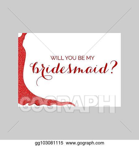 Vector Illustration Bridesmaid Invitation Card With Glittery Dress