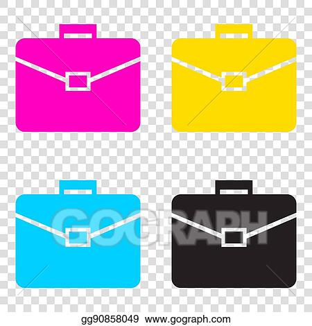 8c8bf4c3037e Briefcase sign illustration. CMYK icons on transparent backgroun