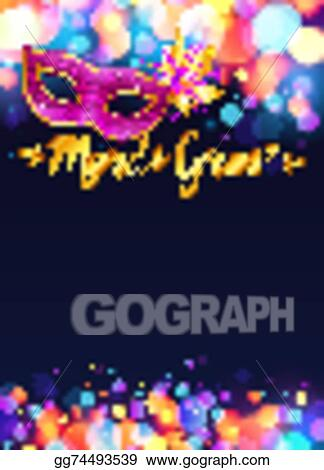 Vector Art - Bright mardi gras poster template with bokeh effect