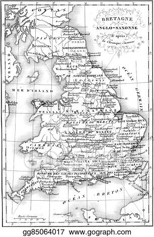 Anglo Saxon Map Of England.Drawing Britain Anglo Saxon Map Vintage Engraving Clipart