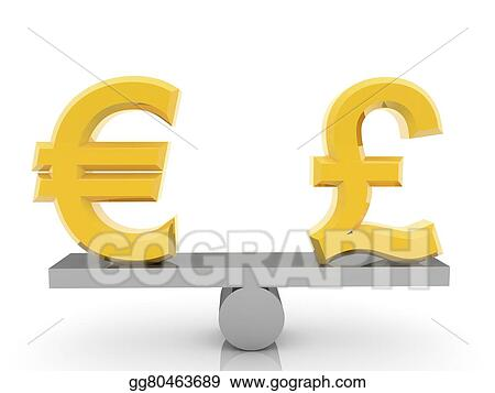 Clipart British Pound Sign And Euro Sign Stock Illustration