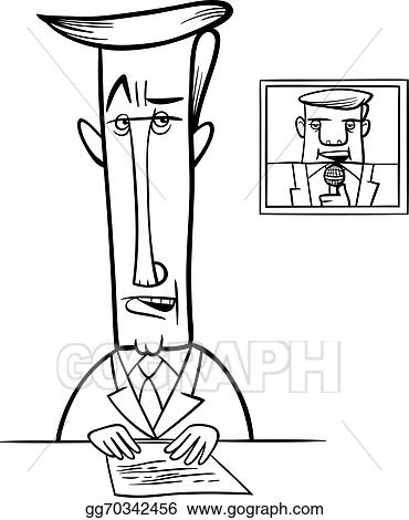 Vector Illustration - Broadcaster on television coloring page. Stock ...