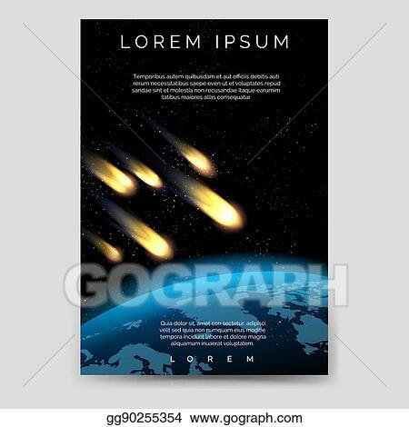 Vector Art Brochure Flyer Template With Meteor Shower Clipart