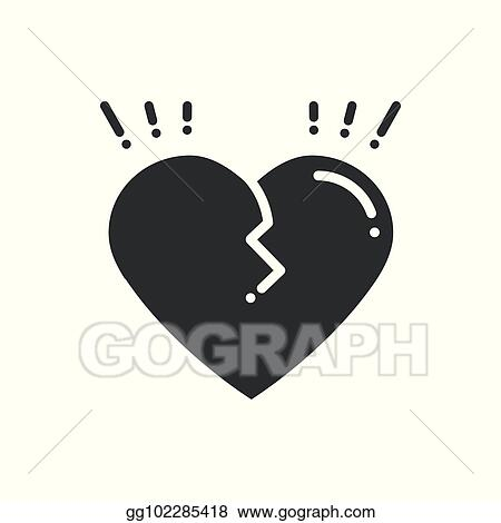 Vector Illustration Broken Heart Line Icon Sign And Symbol Love