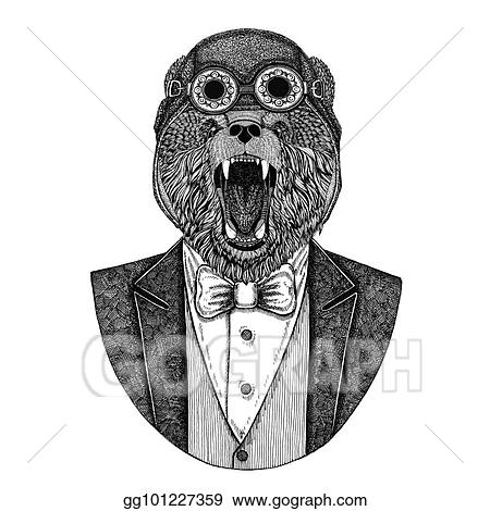 12b0d0156 Brown bear Russian bear Animal wearing aviator helmet and jacket with bow  tie Flying club Hand drawn illustration for tattoo