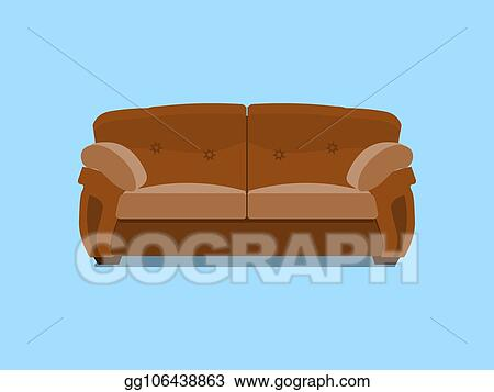 Brown Leather Chester Sofa. Vector Illustration. Comfortable Lounge For  Interior Design Isolated On Blue Background. Modern Model Of Settee Icon.