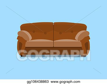 Vector Stock Brown Leather Chester Sofa Vector Illustration Delectable Blue Interior Design Model