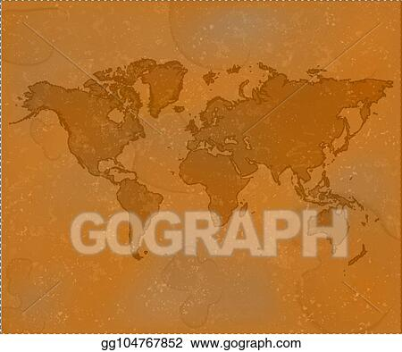 Vector Illustration - Brown world map. grunge old map ... on magazine background, newspaper background, old nautical maps, paper background, wood background, old world cartography, key background, old wallpaper, bouquet background, old compass, old boats, old us highway maps, old treasure maps, space background, city background,