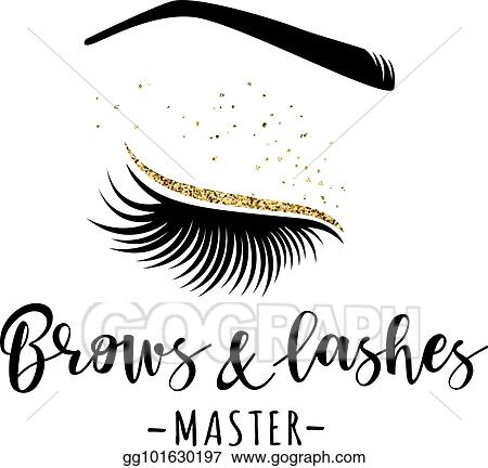 Vector Stock Brows And Lashes Gold Logo Stock Clip Art
